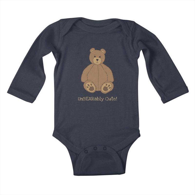 """Teddy Bear """"UnBEARably Cute!"""" (Dark) Kids Baby Longsleeve Bodysuit by buxmontweb's Artist Shop"""