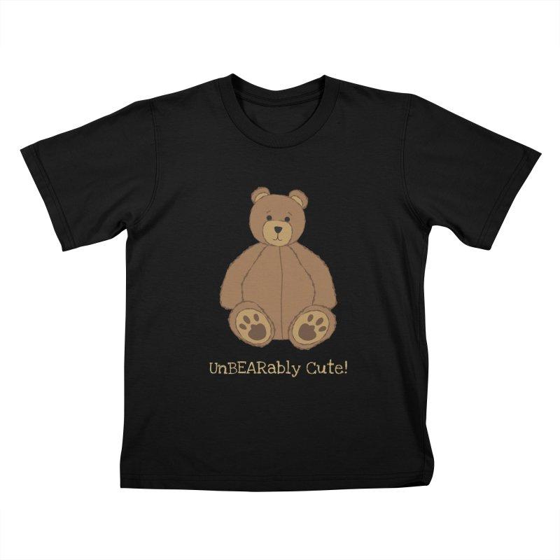"""Teddy Bear """"UnBEARably Cute!"""" (Dark) Kids T-Shirt by buxmontweb's Artist Shop"""