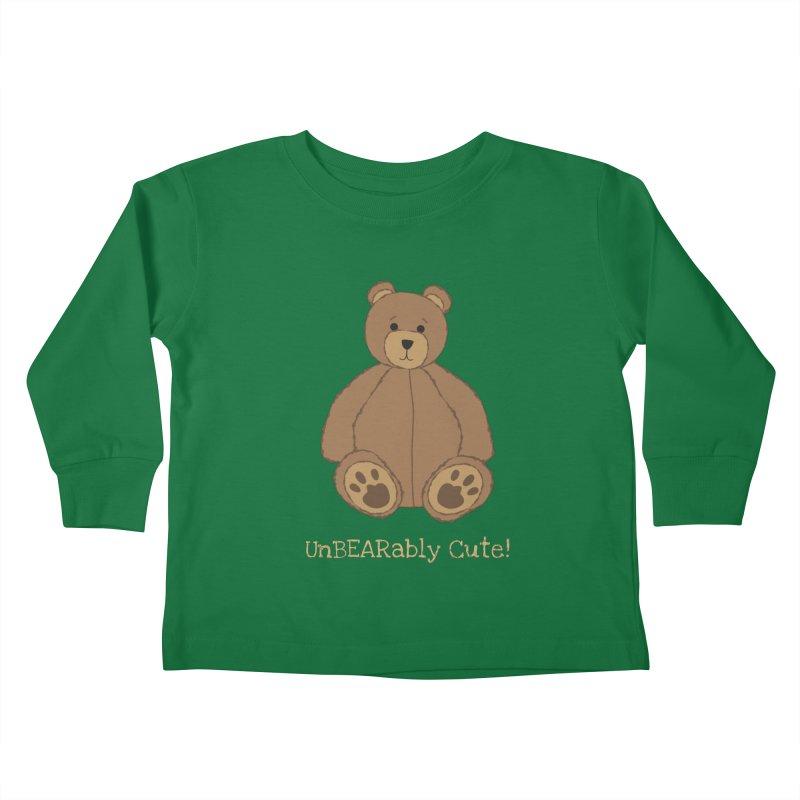 """Teddy Bear """"UnBEARably Cute!"""" (Dark) Kids Toddler Longsleeve T-Shirt by buxmontweb's Artist Shop"""