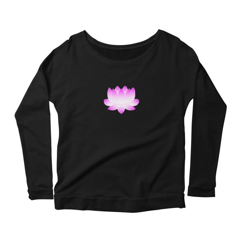 Pink Lotus Flower Women's Scoop Neck Longsleeve T-Shirt by buxmontweb's Artist Shop