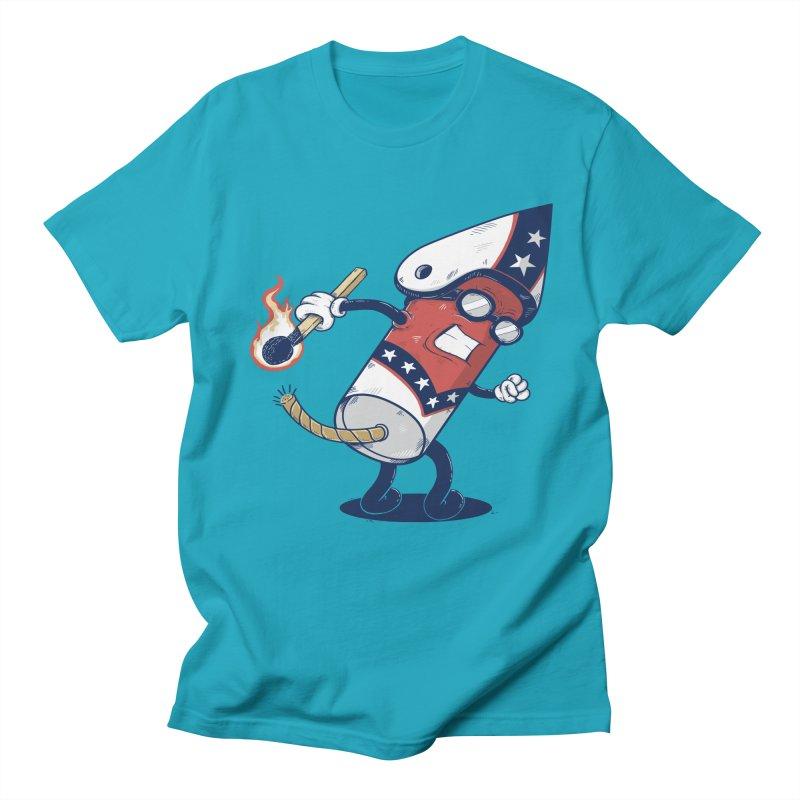 firecracker man Men's Regular T-Shirt by buyodesign's Artist Shop
