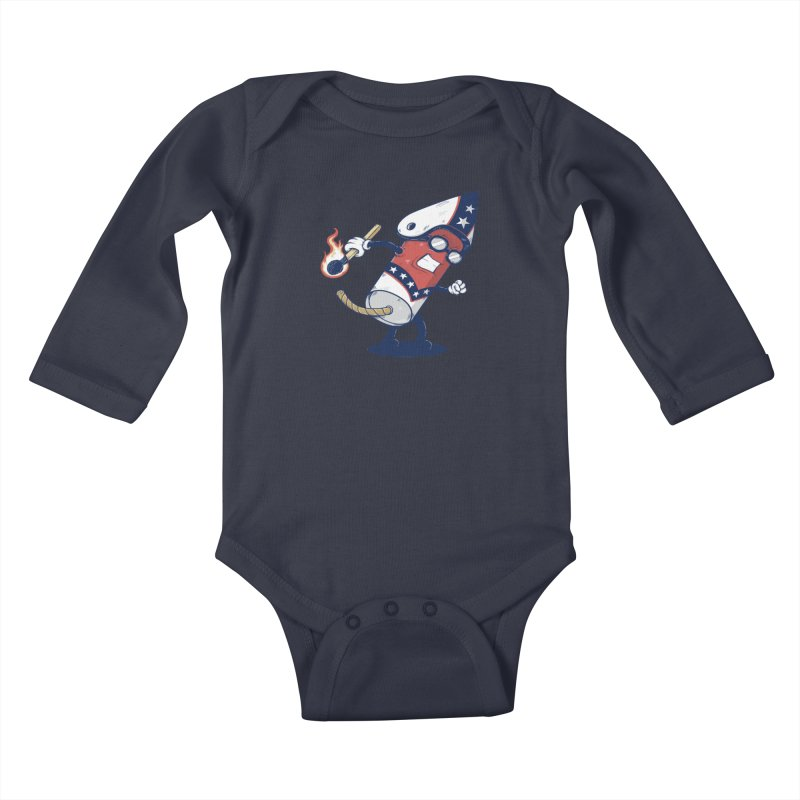 firecracker man Kids Baby Longsleeve Bodysuit by buyodesign's Artist Shop