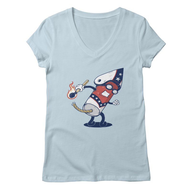 firecracker man Women's Regular V-Neck by buyodesign's Artist Shop