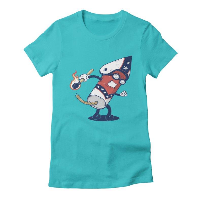 firecracker man Women's Fitted T-Shirt by buyodesign's Artist Shop