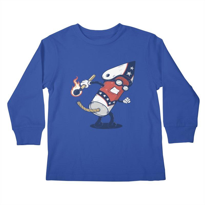 firecracker man Kids Longsleeve T-Shirt by buyodesign's Artist Shop