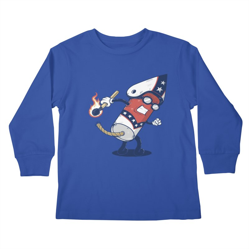 firecracker man Kids Longsleeve T-Shirt by buyodesign's Artist Shop