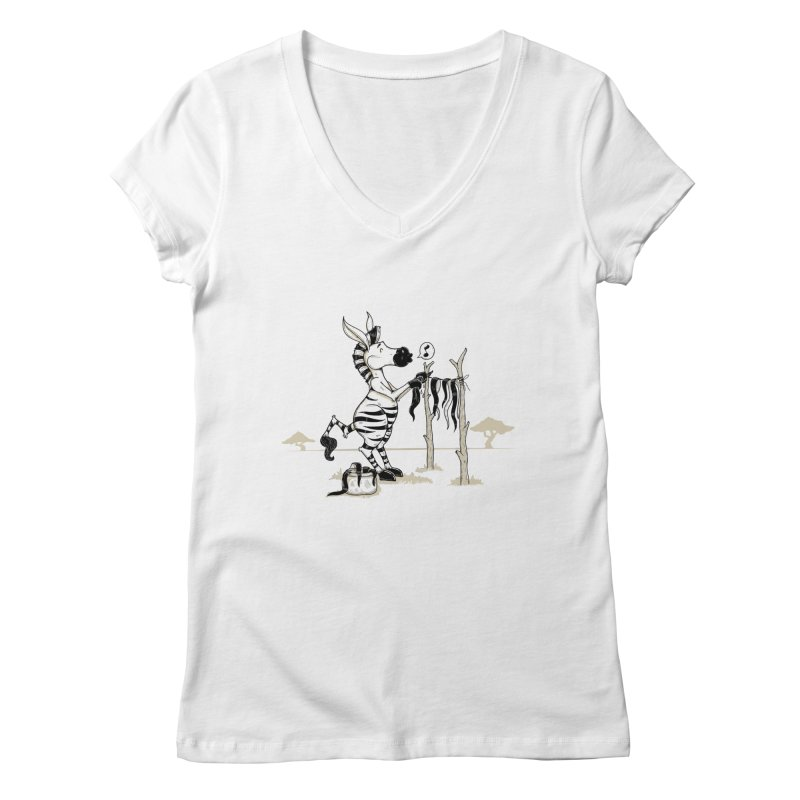 lavando rayas Women's V-Neck by buyodesign's Artist Shop