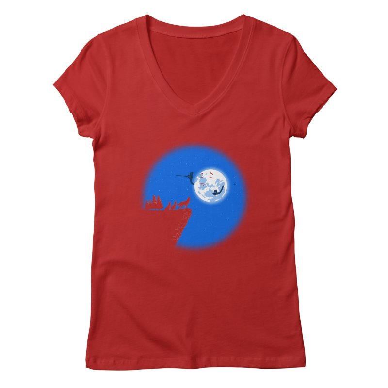 moon serenade Women's V-Neck by buyodesign's Artist Shop