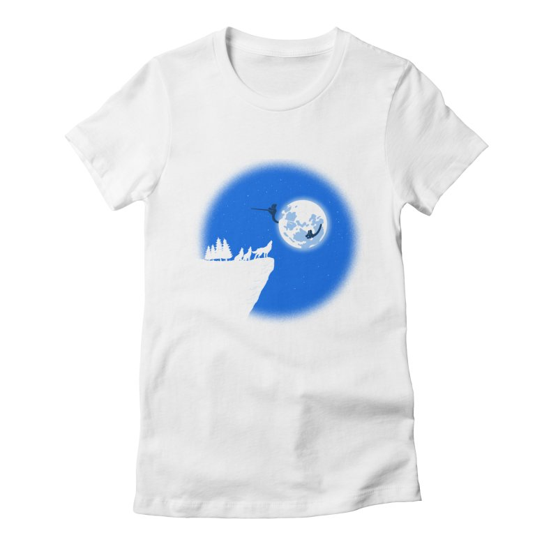 moon serenade Women's Fitted T-Shirt by buyodesign's Artist Shop