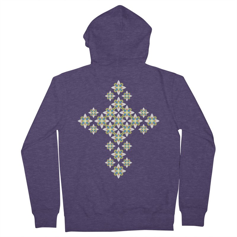Space Flower Cross Men's Zip-Up Hoody by Universe Deep Inside