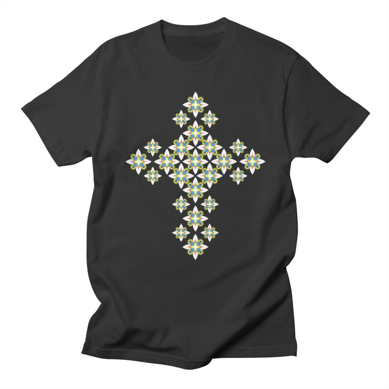 Space Flower Cross Men's T-Shirt by Universe Deep Inside