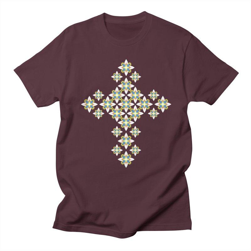 Space Flower Cross Men's T-Shirt by Universe Deep Inside