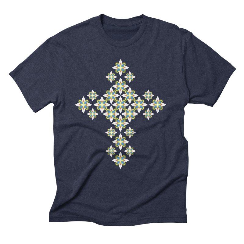 Space Flower Cross Men's Triblend T-Shirt by Universe Deep Inside