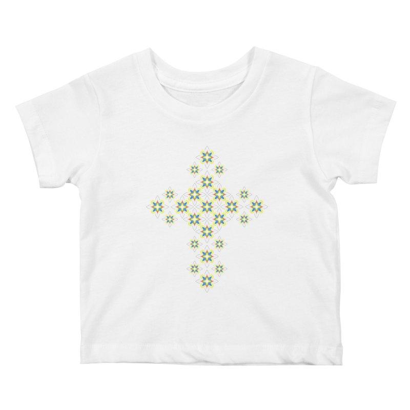 Space Flower Cross Kids Baby T-Shirt by Universe Deep Inside