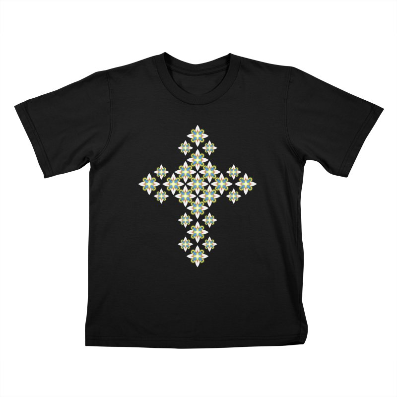 Space Flower Cross Kids T-shirt by Universe Deep Inside