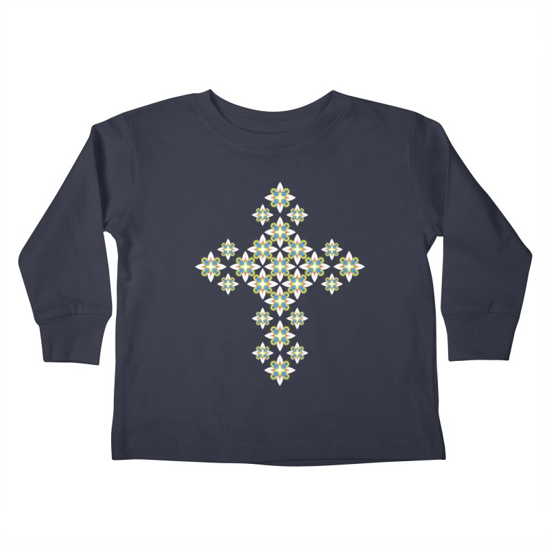 Space Flower Cross Kids Toddler Longsleeve T-Shirt by Universe Deep Inside