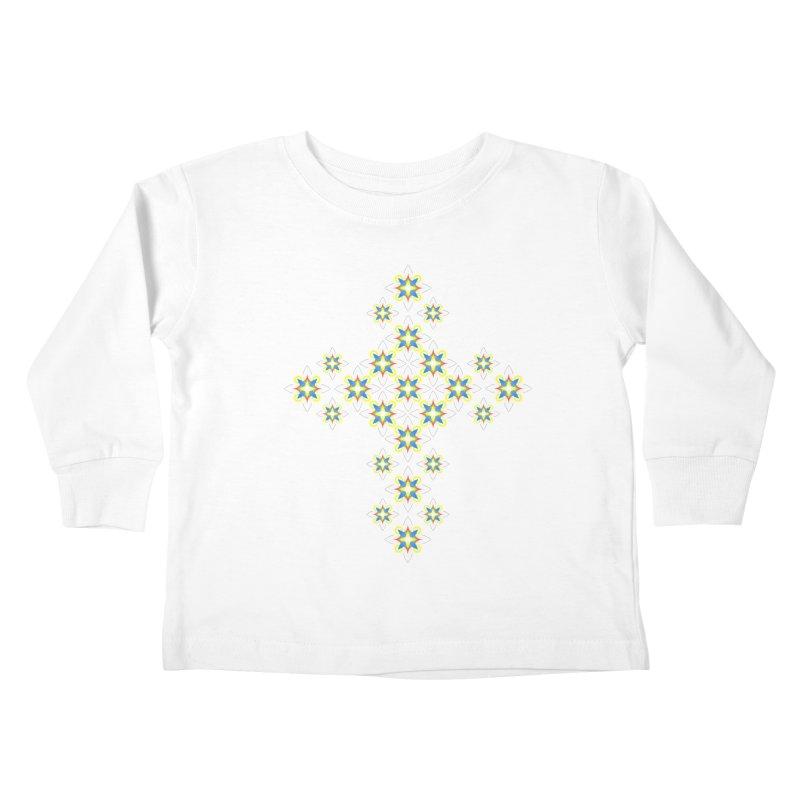 Space Flower Cross Kids Toddler Longsleeve T-Shirt by Universe Deep Inside