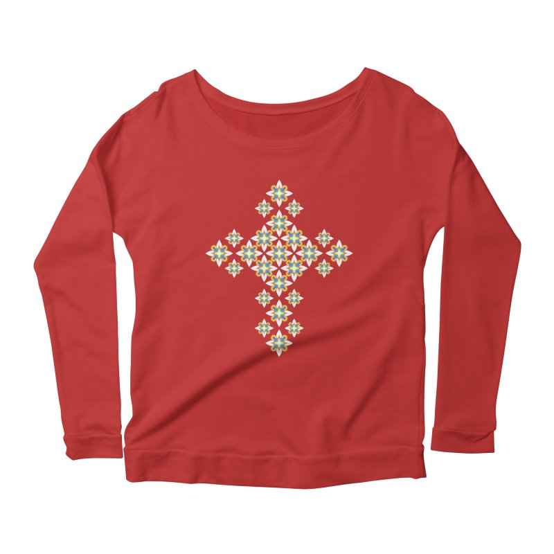 Space Flower Cross Women's Longsleeve Scoopneck  by Universe Deep Inside