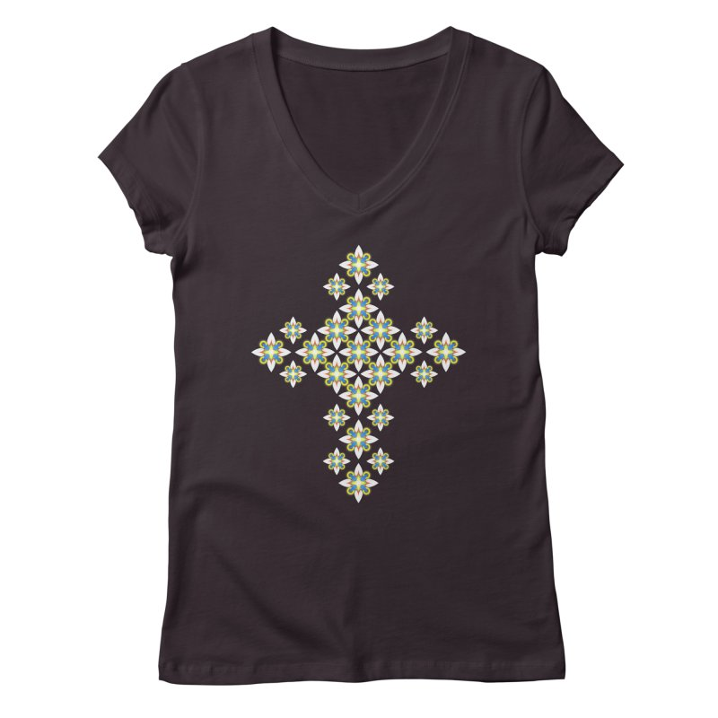 Space Flower Cross Women's V-Neck by Universe Deep Inside