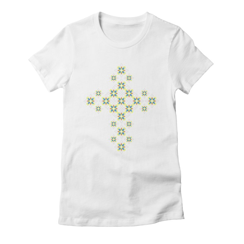 Space Flower Cross Women's Fitted T-Shirt by Universe Deep Inside