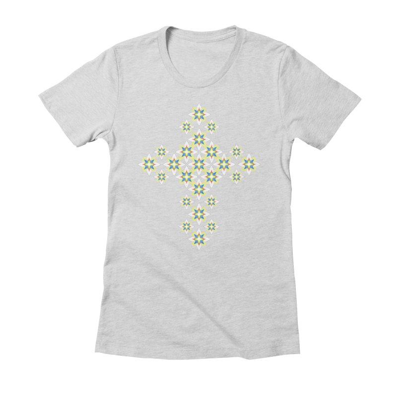 Space Flower Cross Women's Fitted T-Shirt by Universe Deep Inside