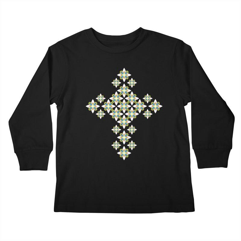 Space Flower Cross Kids Longsleeve T-Shirt by Universe Deep Inside
