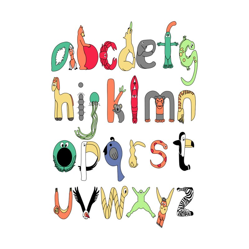 Lowercase English Animal Alphabet Home Fine Art Print by Bware Clothing's Shop