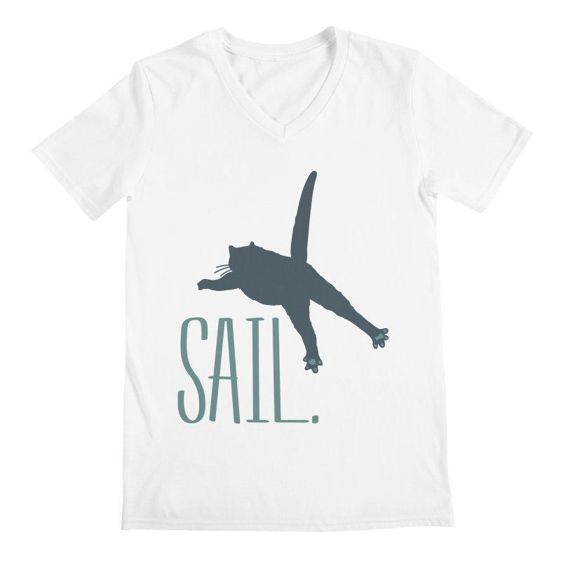 Sail Cat Shirt - Light Shirts Men's Regular V-Neck by Jon Lynch's Artist Shop
