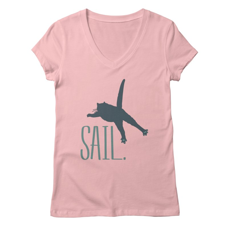Sail Cat Shirt - Light Shirts Women's Regular V-Neck by Jon Lynch's Artist Shop