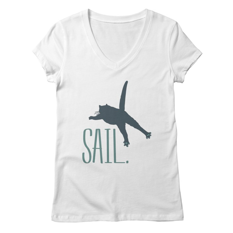 Sail Cat Shirt - Light Shirts Women's V-Neck by Jon Lynch's Artist Shop