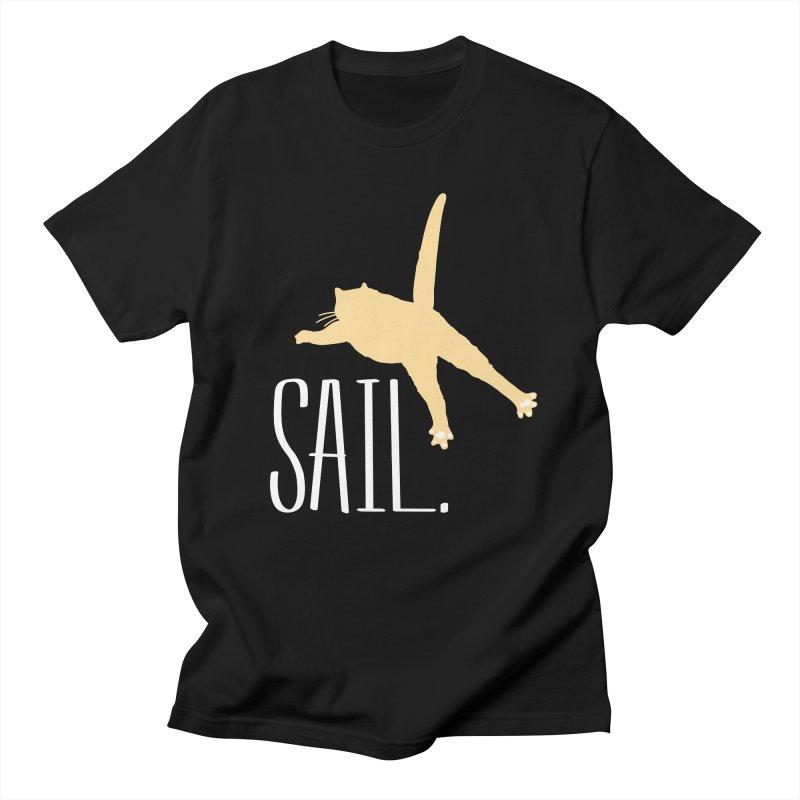 Sail Cat Shirt - Dark Shirts Men's Regular T-Shirt by Jon Lynch's Artist Shop