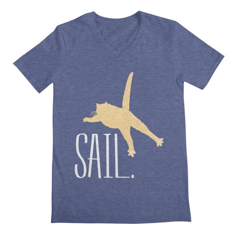 Sail Cat Shirt - Dark Shirts Men's V-Neck by Jon Lynch's Artist Shop