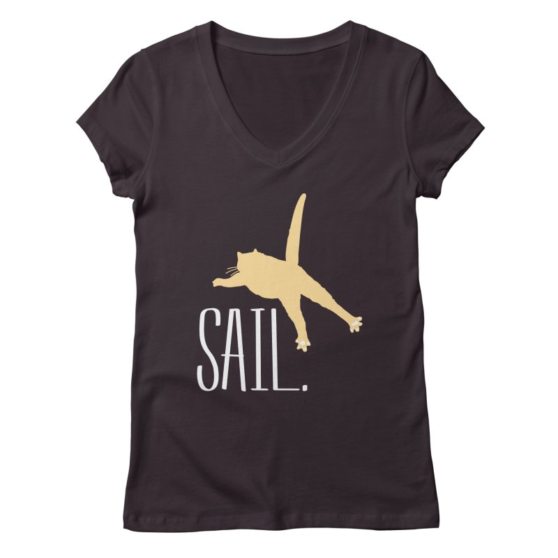 Sail Cat Shirt - Dark Shirts Women's Regular V-Neck by Jon Lynch's Artist Shop