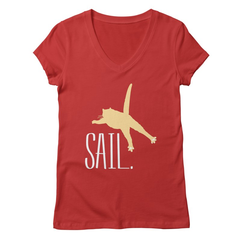 Sail Cat Shirt - Dark Shirts Women's V-Neck by Jon Lynch's Artist Shop