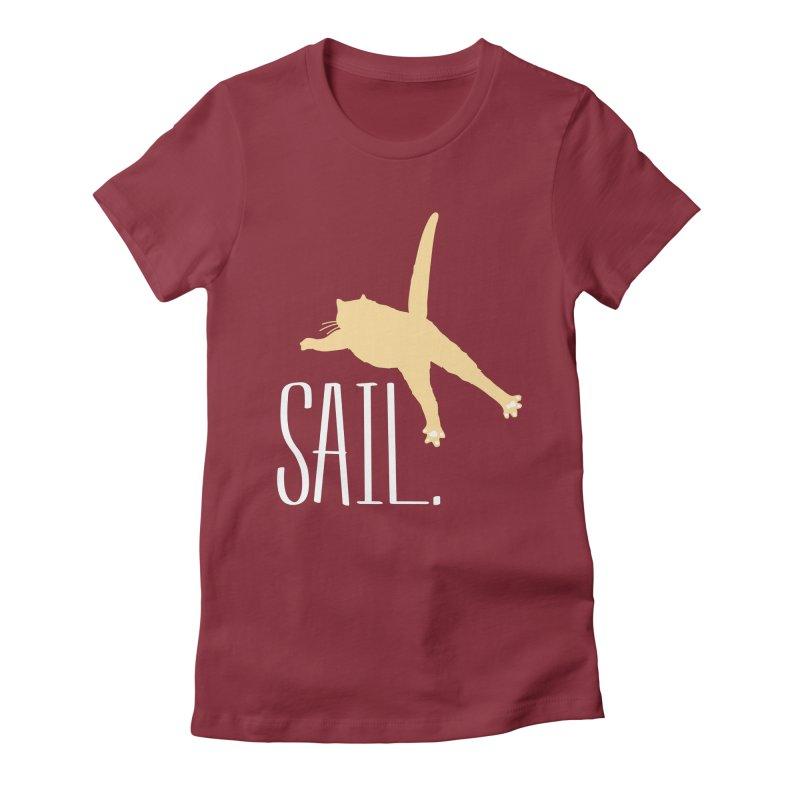 Sail Cat Shirt - Dark Shirts Women's Fitted T-Shirt by Jon Lynch's Artist Shop
