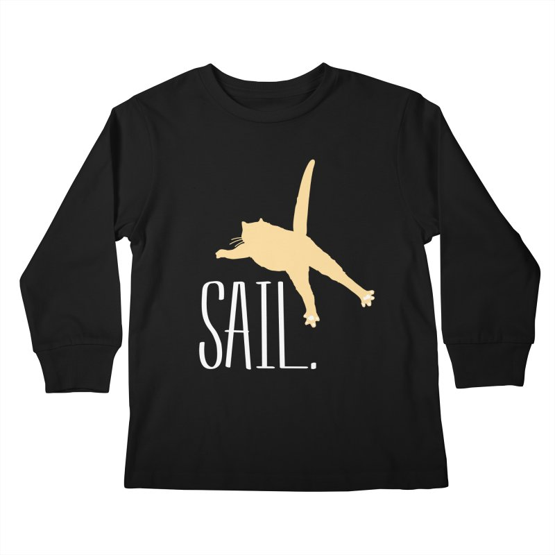 Sail Cat Shirt - Dark Shirts Kids Longsleeve T-Shirt by Jon Lynch's Artist Shop