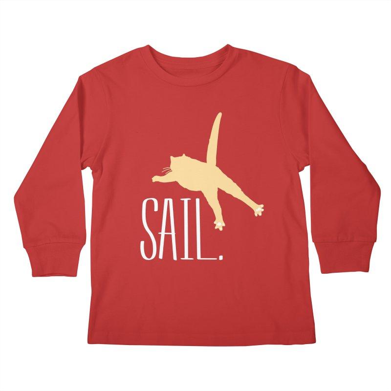 Sail Cat Shirt - Dark Shirts Kids Longsleeve T-Shirt by Jon Lynch's Artist Shop