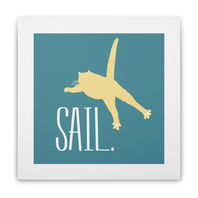 Sail Cat Wall Art - Dark Home Stretched Canvas by Jon Lynch's Artist Shop