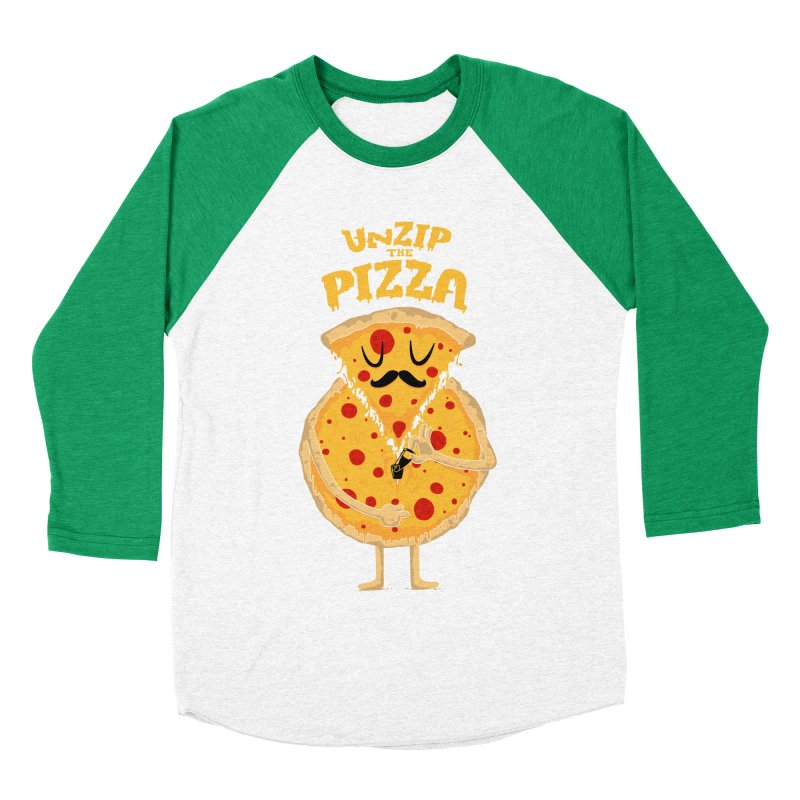 Unzip the Pizza Men's Baseball Triblend T-Shirt by bykai's Artist Shop