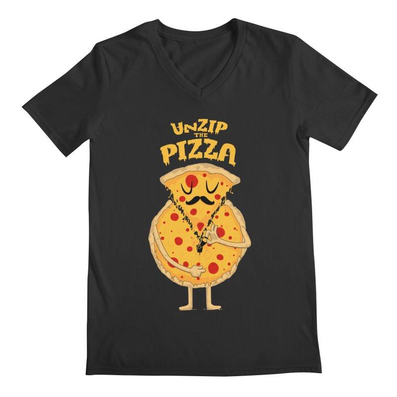 Unzip the Pizza Men's V-Neck by bykai's Artist Shop