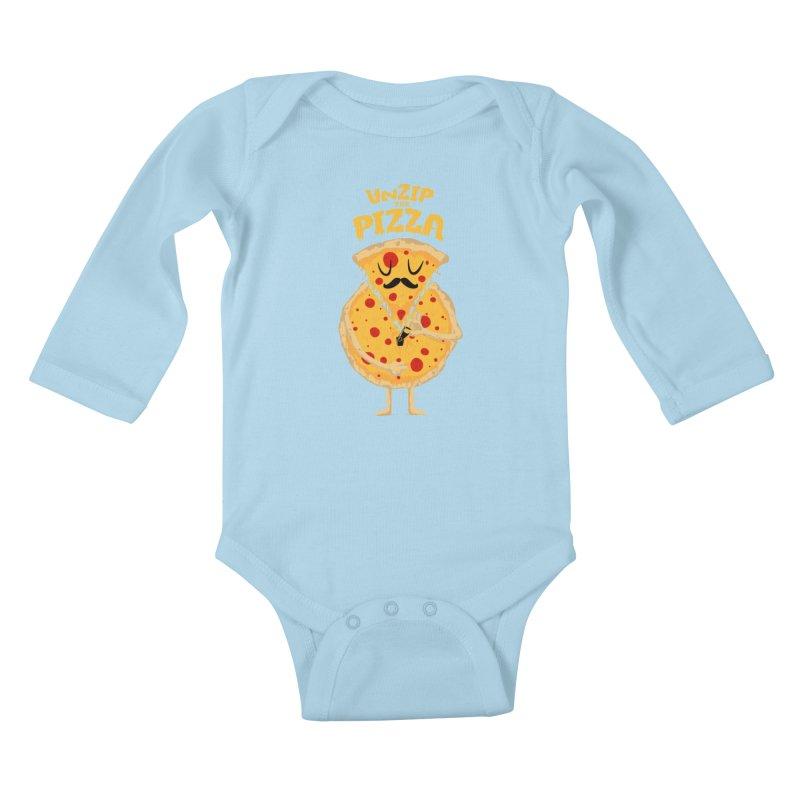 Unzip the Pizza Kids Baby Longsleeve Bodysuit by bykai's Artist Shop