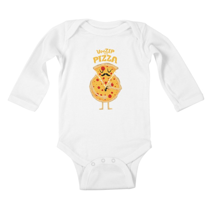 Unzip the Pizza Kids Baby Longsleeve Bodysuit by bykai's Artist Shop