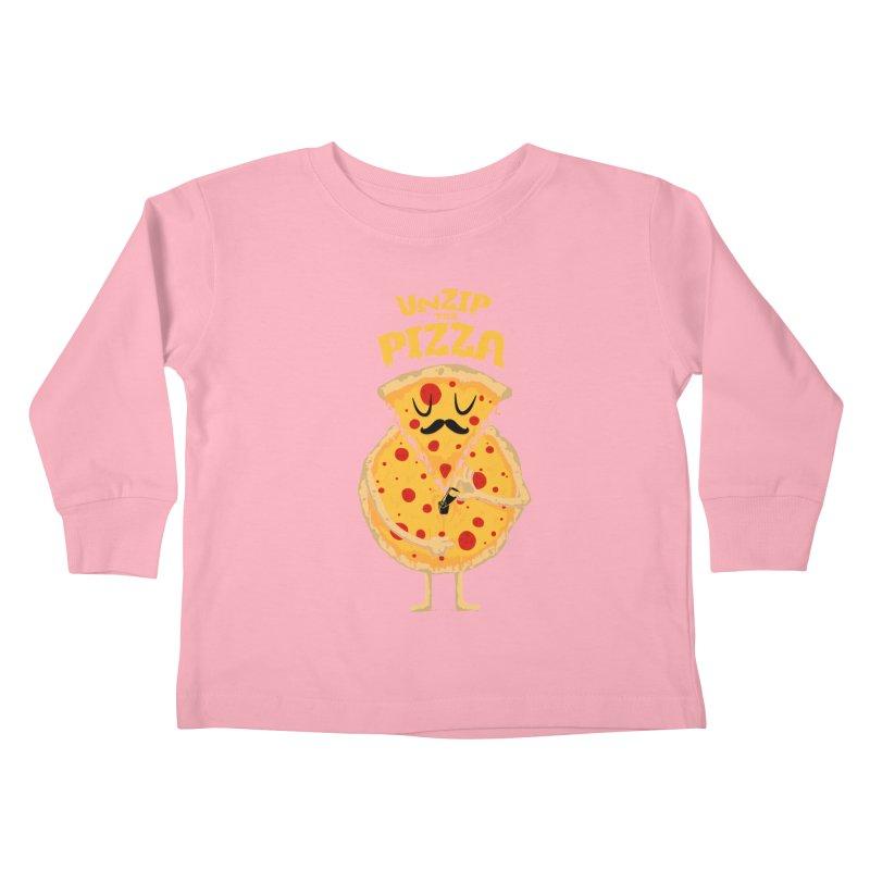 Unzip the Pizza Kids Toddler Longsleeve T-Shirt by bykai's Artist Shop