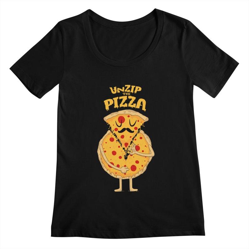 Unzip the Pizza Women's Scoopneck by bykai's Artist Shop
