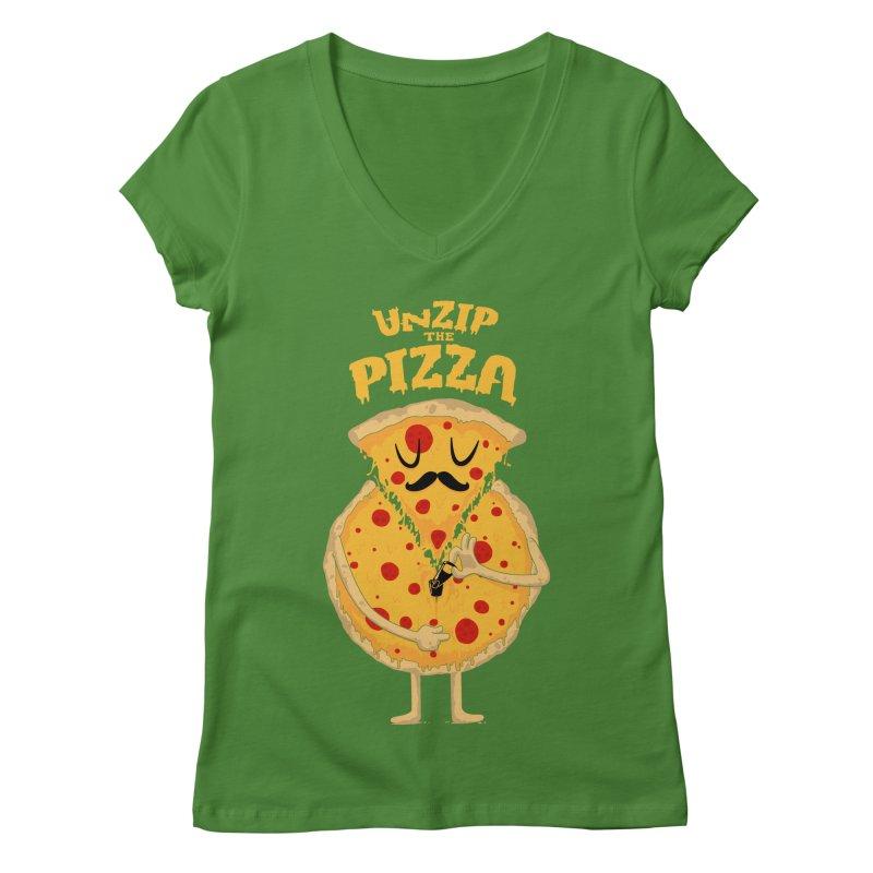 Unzip the Pizza Women's V-Neck by bykai's Artist Shop
