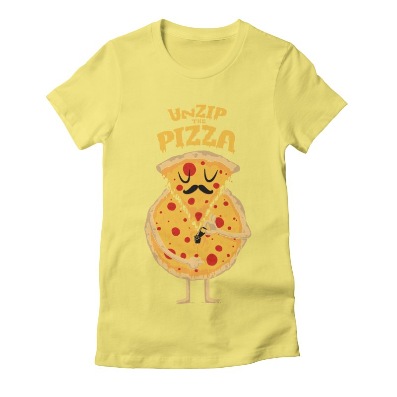Unzip the Pizza Women's Fitted T-Shirt by bykai's Artist Shop