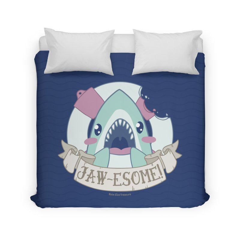 Jawesome! (Great White Shark) Home Duvet by Byte Size Treasure's Shop