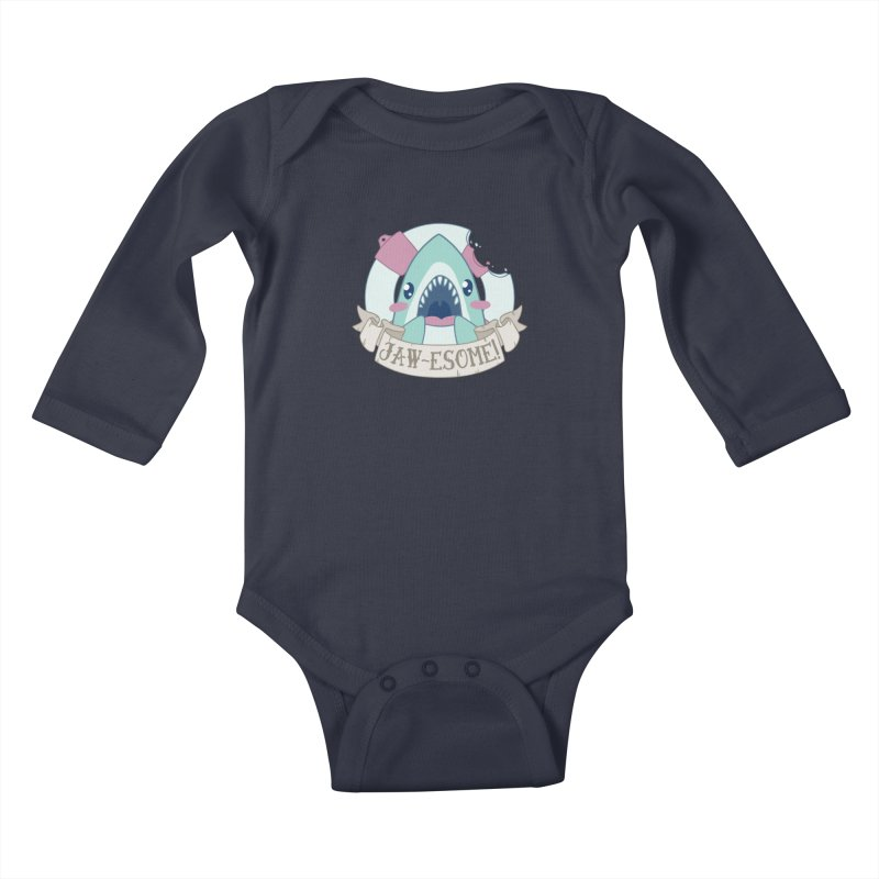 Jawesome! (Great White Shark) Kids Baby Longsleeve Bodysuit by Byte Size Treasure's Shop