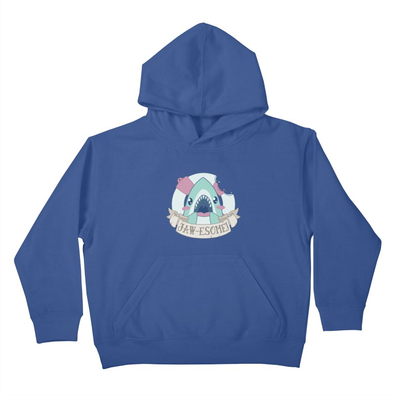 Jawesome! (Great White Shark) Kids Pullover Hoody by Byte Size Treasure's Shop
