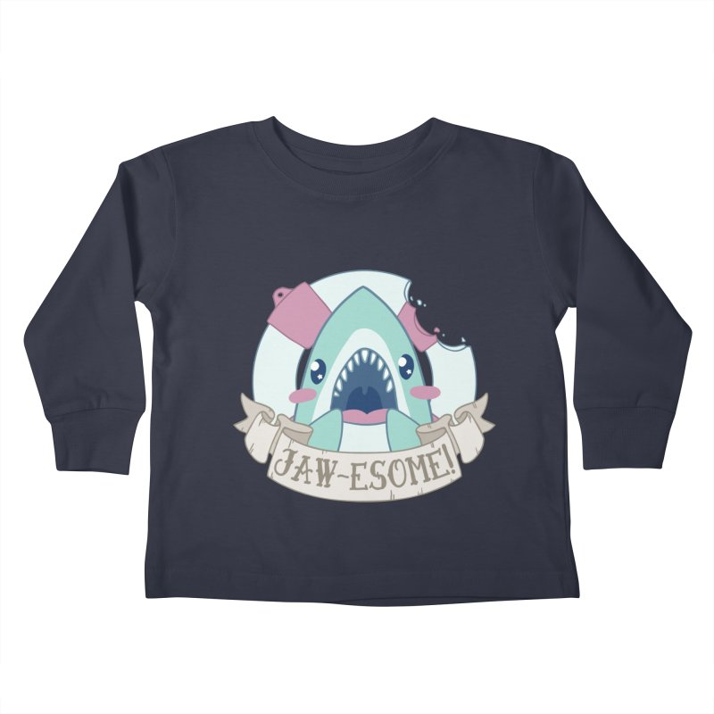 Jawesome! (Great White Shark) in Kids Toddler Longsleeve T-Shirt Midnight by Byte Size Treasure's Shop